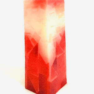Red/White Vertical and Rectangular Candle Handmade Artisan