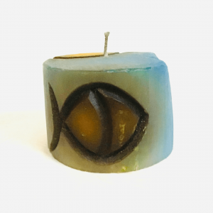 Cylindrical Candle with a Fish Figure Handmade by Artisans