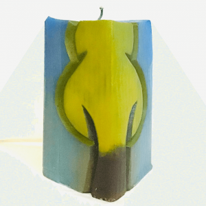 Vertical Rectangle with a Tree Shaped Handmade Candle by Artisan